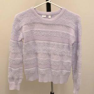 Gap Girls Oxford Purple Fuzzy Stripe Sweater